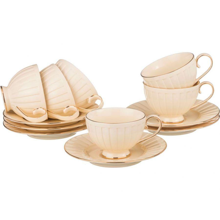 """Чайный набор на 6 персон """"Плиссе"""", 12 пр., 250 мл"""