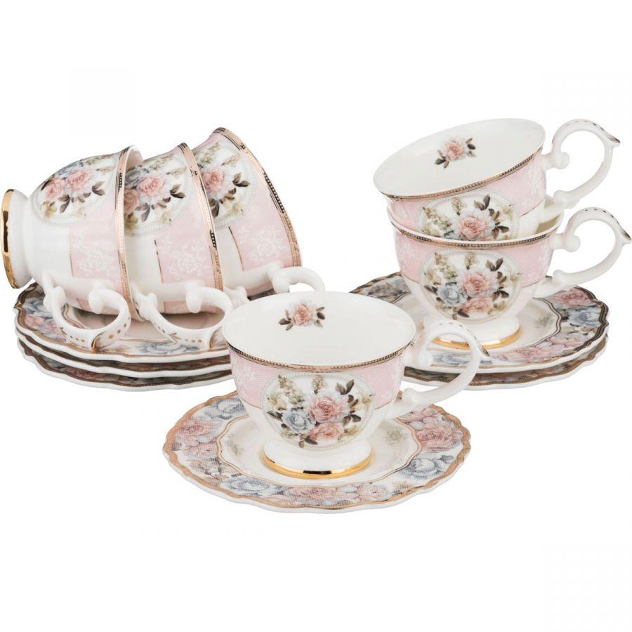 "Чайный набор на 6 персон ""Пудровый шлейф"", 12 пр., 250 мл"