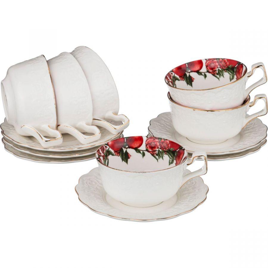 """Чайный набор на 6 персон """"Гранаты"""", 12 пр., 220 мл"""