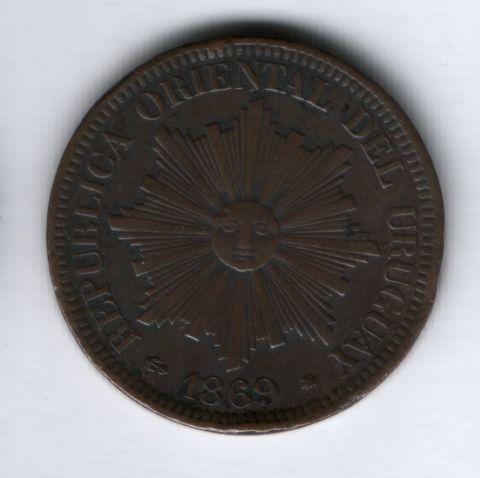 4 сентесимо 1869 года А, Уругвай