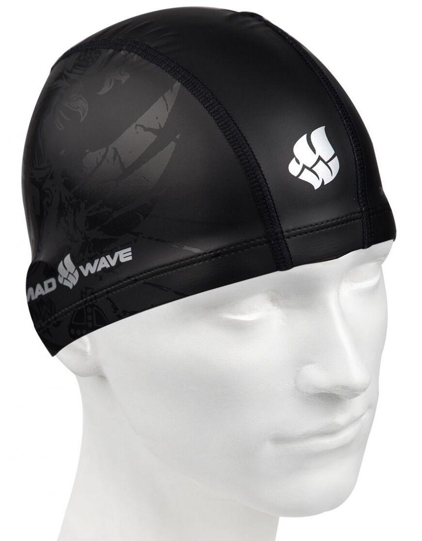 Шапочка для плавания комбинированная Mad Wave BLACK RUS