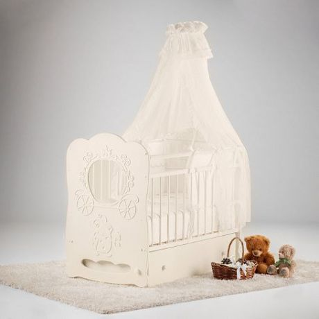 Кроватка детская Карета маятник поперечный с ящиком
