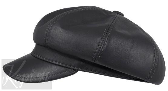 Женская кепка кожаная (модная классика, серая).