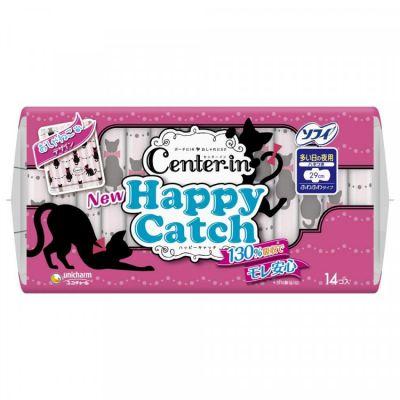 Unicharm Center-in Happy Catch Super Night Ночные гигиенические прокладки для девочек-подростков 29 см с крылышками 14 шт