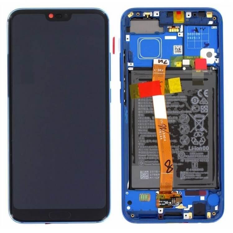Дисплей в сборе с сенсорным стеклом и корпусом с аккумулятором и сканером отпечатка для Huawei Honor 10 (Original)