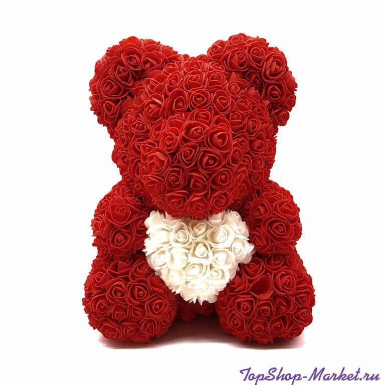 Мишка из роз с сердцем в подарочной коробке, 40 см, Цвет: Красный