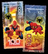100 РУБЛЕЙ ПАМЯТНАЯ СУВЕНИРНАЯ КУПЮРА - ЧЕЛОВЕК-ПАУК(SPIDER MAN) - ГЕРОИ MARVELL