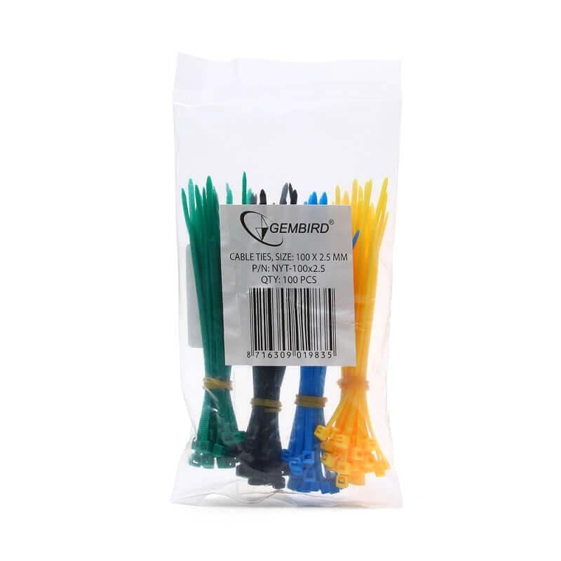 Стяжки NYT-100x2.5С пластиковые 100 мм х 2,5 мм (набор 4 цвета по 25 шт.)