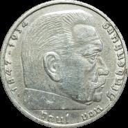 ГЕРМАНИЯ 2 РЕЙХС МАРКИ СЕРЕБРО 1939 ТРЕТИЙ РЕЙХ. СЕРЕБРО (1)