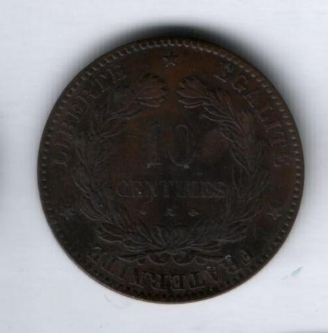 10 сантимов 1873 года А, Франция XF+