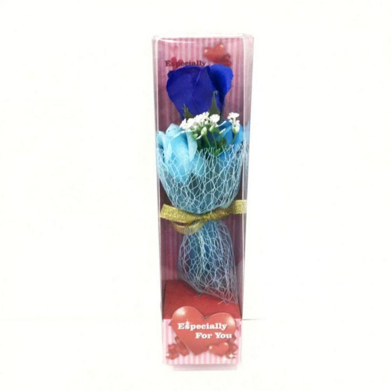 Подарочное мыло букет роз в пластиковой упаковке Especially for You, 28 см, цвет синий
