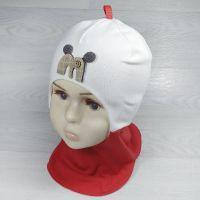 вд1366-3223 Шлем трикотажный двойной два цвета М молочный/красный