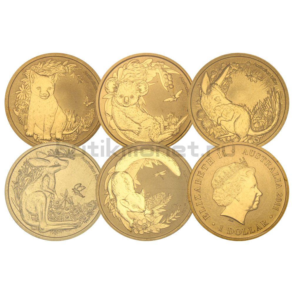 Набор 1 доллар 2011 Австралия Детёныши диких животных
