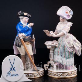 Пара, кавалер с часами, дама с картами, Meissen, Германия, кон.19 - нач.20 вв.