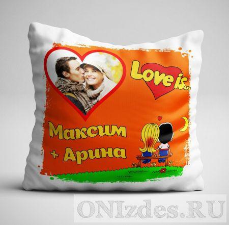 Подушка с фото в стиле Love is + имена