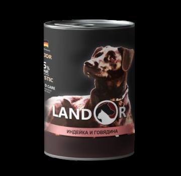 Ландор для щенков всех пород индейка с говядиной 400г