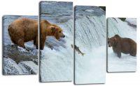 Модульная картина Медведи на рыбалке