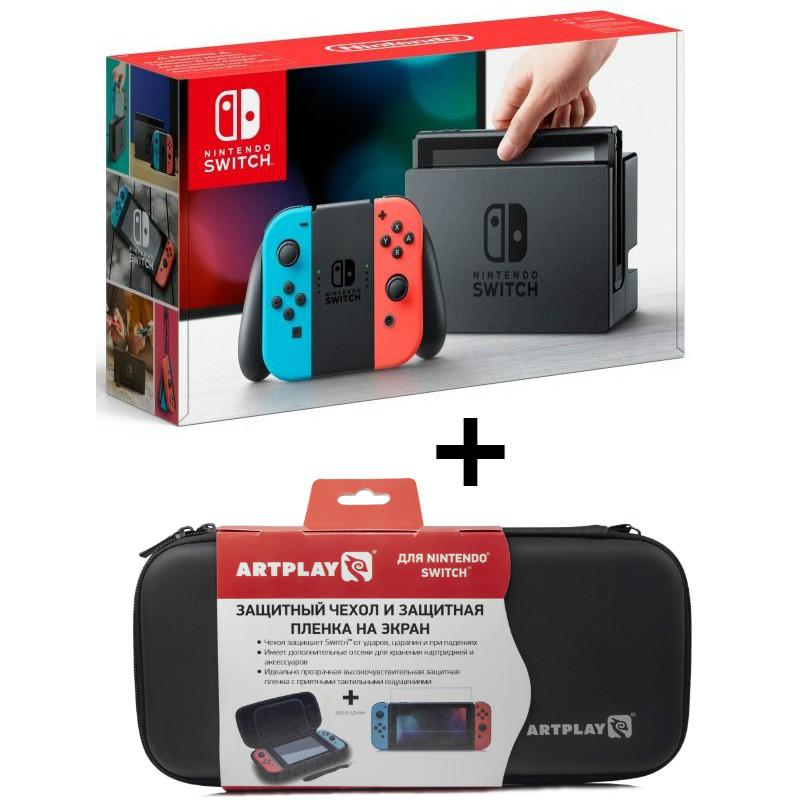 Игровая приставка Nintendo Switch (neon red/neon blue) + (Чехол + Плёнка)