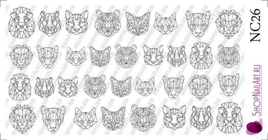Слайдер дизайн NC26 - Геометрия, Животные, Кошки, Трафарет, черный