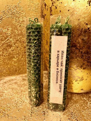 ИВАН ЧАЙ 3 шт Свечи из вощины Зеленого Цвета,приносит удачу в карьере и бизнесе.