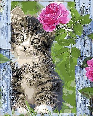 """Котенок и роза"" живопись на холсте 40х50см"