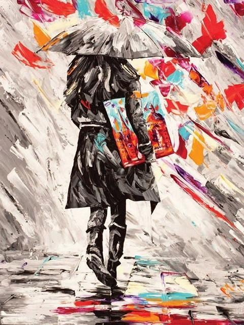 """""""Яркий дождь"""" живопись на холсте 40х50см"""