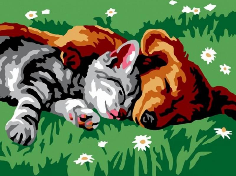 """Котенок и щенок"" живопись на холсте 30х40см"