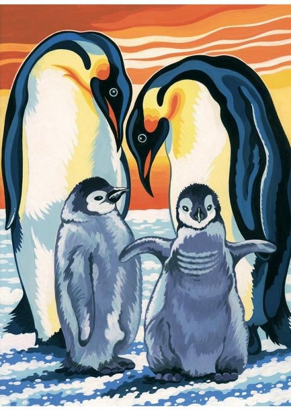 """Пингвины"" живопись на холсте 30х40см"