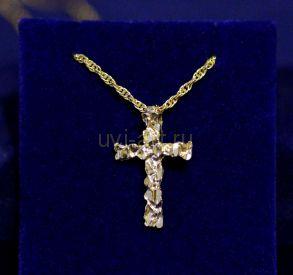 """Позолоченный крест """"Самородок"""" с имитацией алмазной гравировки с цепочкой (арт. 880183)"""