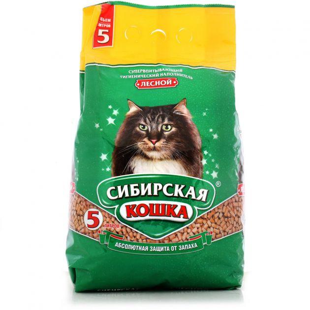 Наполнитель д/туалетов Сибирская кошка Лесной 5л. древ.гранулы 10мм