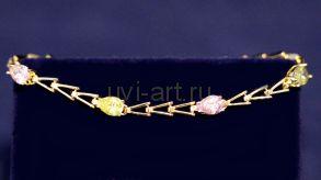 Позолоченный браслет с разноцветными топазами (арт. 880192)