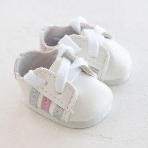Обувь для кукол 4,5 см - кроссовки Белые с серебряно-розовыми полосками