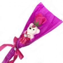Сувенир ароматизированная роза из мыла с мишкой, 45 см, Цвет розы: Тёмно-розовый
