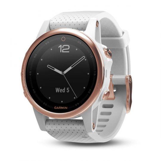 Часы Garmin Fenix 5s Sapphire розовое золото с белым браслетом