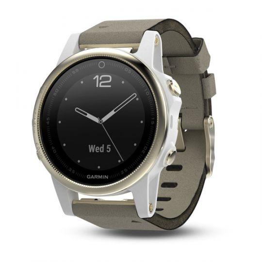 Часы Garmin Fenix 5s Sapphire золотистые с замшевым ремешком