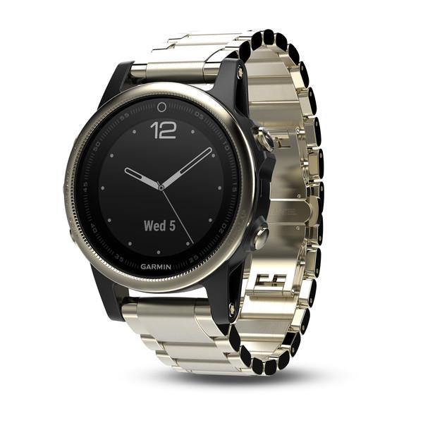 Часы Garmin Fenix 5s Sapphire золотистые с металлическим браслетом