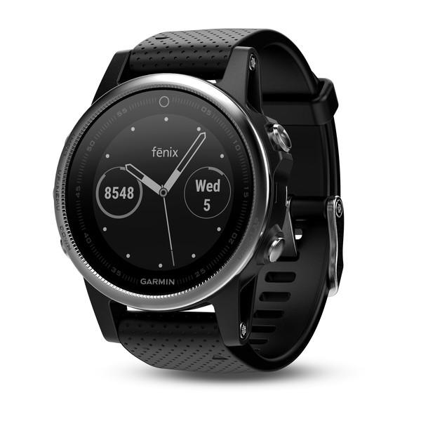 Часы Garmin Fenix 5s серебристые с черным ремешком