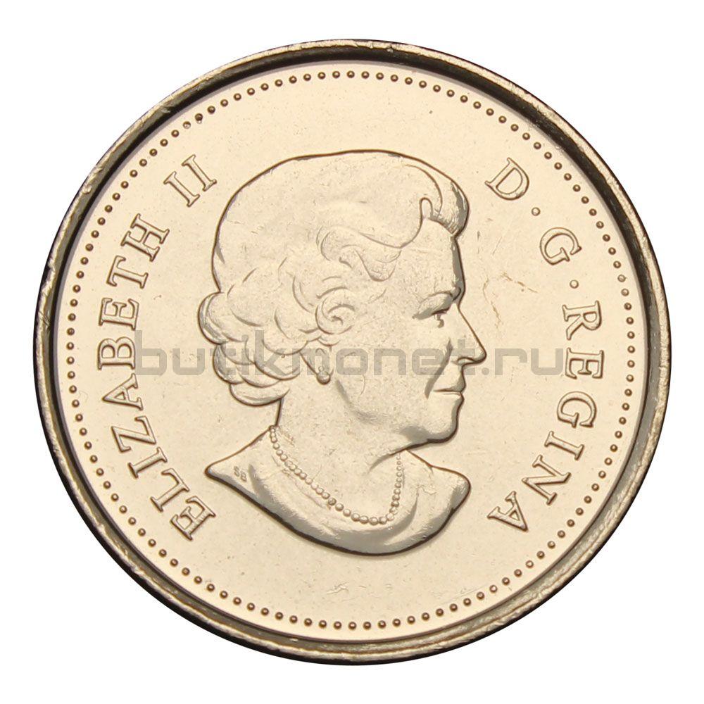 25 центов 2011 Канада Сапсан Цветная (Природа Канады)