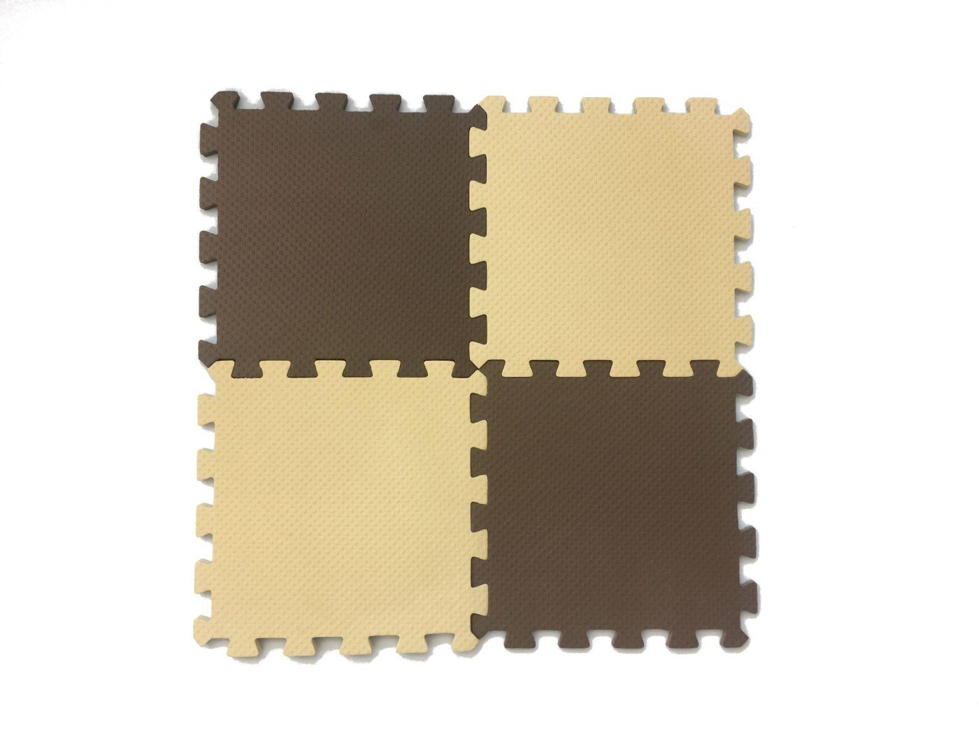 Мягкий пол универсальный 25*25 (см) бежево-коричневый
