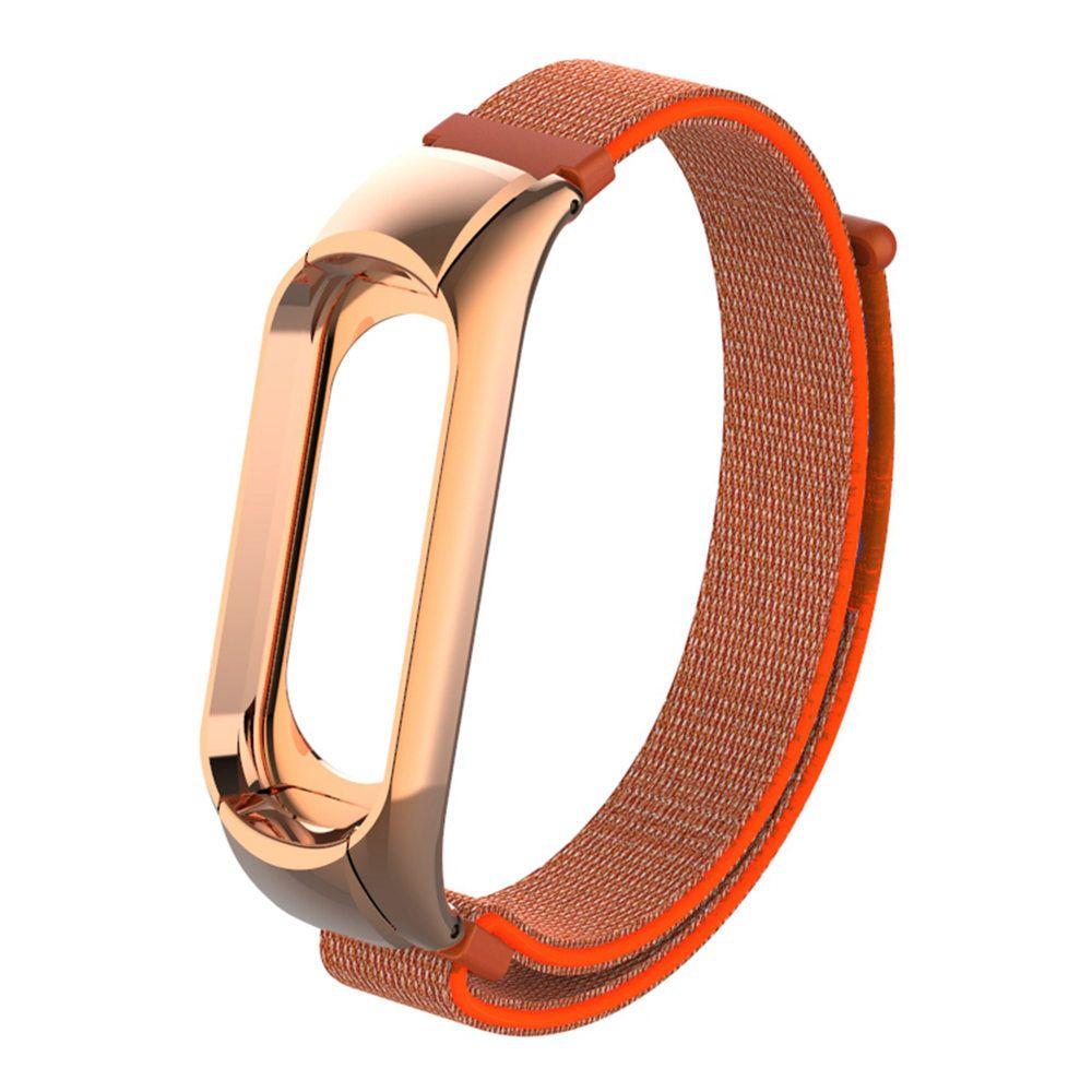 Сменный ремешок для Mi Band 3 (Золото - Оранжевый / Липучка)
