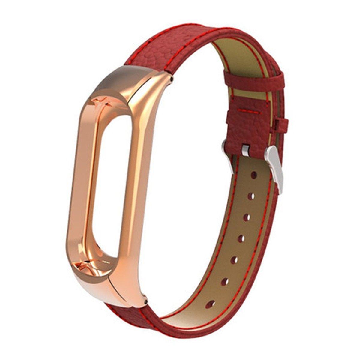 Сменный кожаный ремешок для Mi Band 3 (Красный)