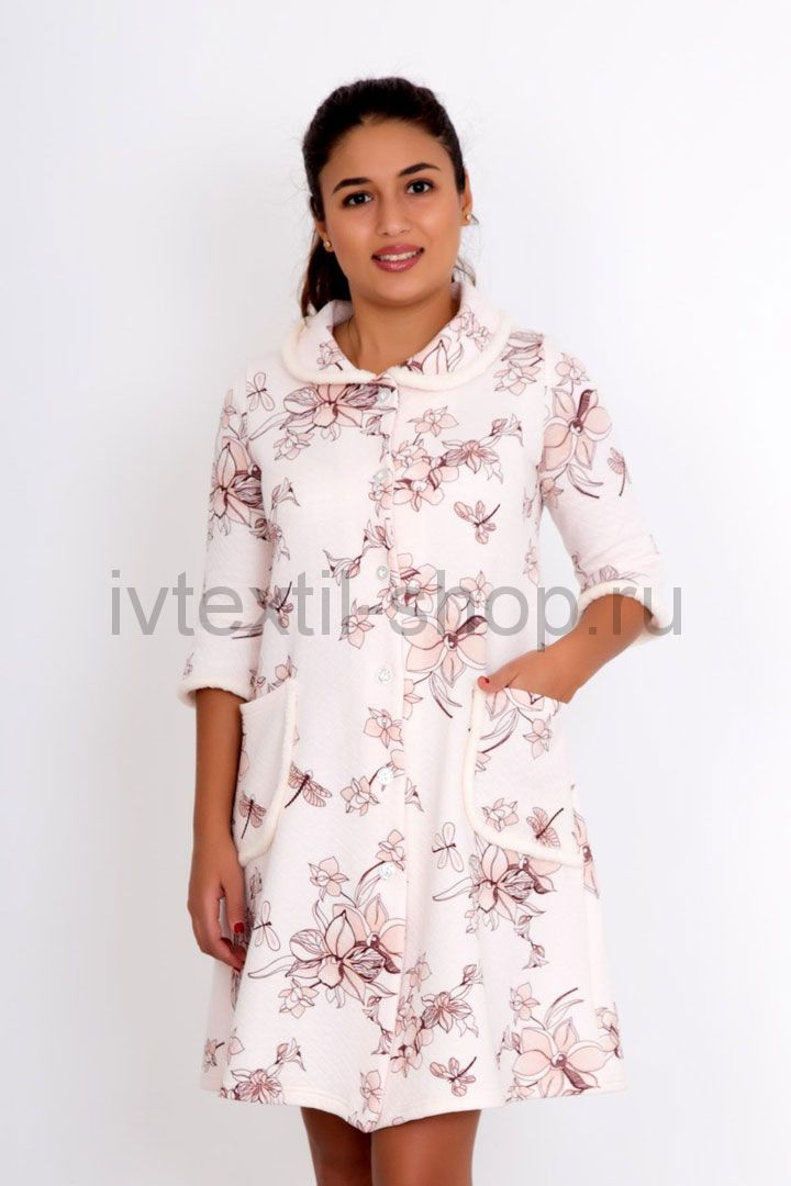 122f4dec21a18 Купить недорого женский домашний теплый халат пуговицах