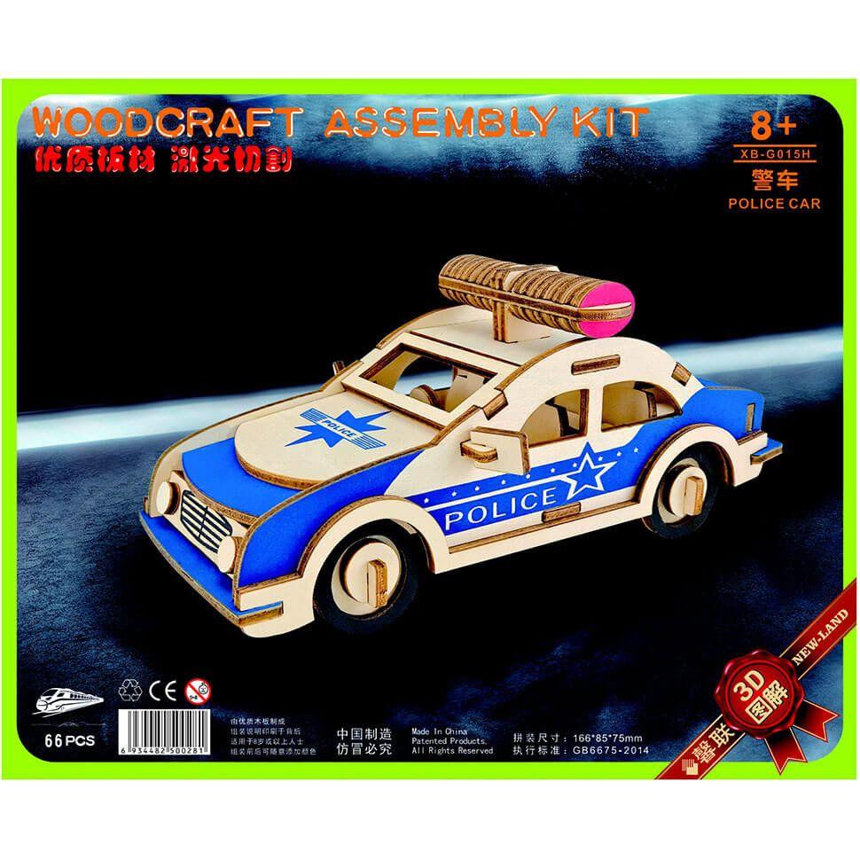 Полицейская машина деревянный 3D пазл