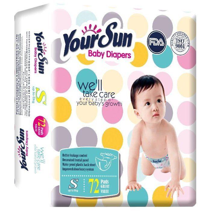 YourSun Подгузники Размер S 4-6 кг 72шт