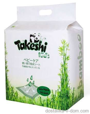 Takeshi Kid's ПЕЛЕНКИ ГИГИЕНИЧЕСКИЕ 60 х 60 30 ШТ