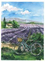 Почтовая открытка В лавандовом поле