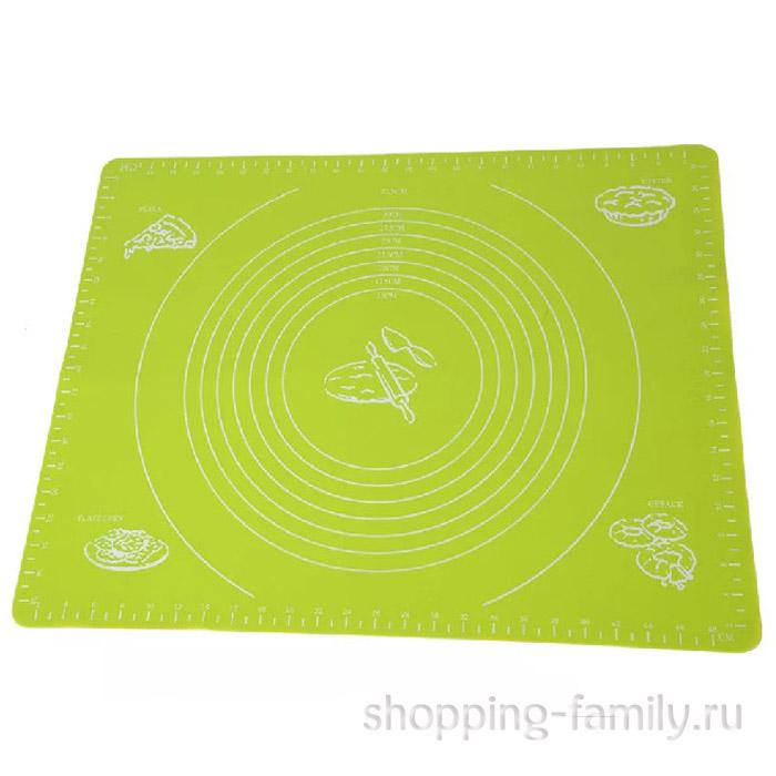 Силиконовый коврик для раскатывания теста, 70х50 см, зеленый