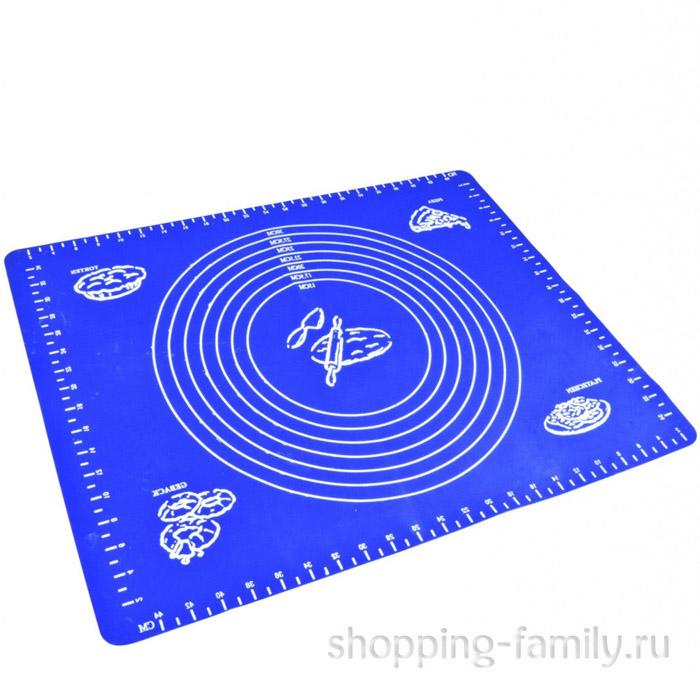 Силиконовый коврик для раскатывания теста, 70х50 см, синий
