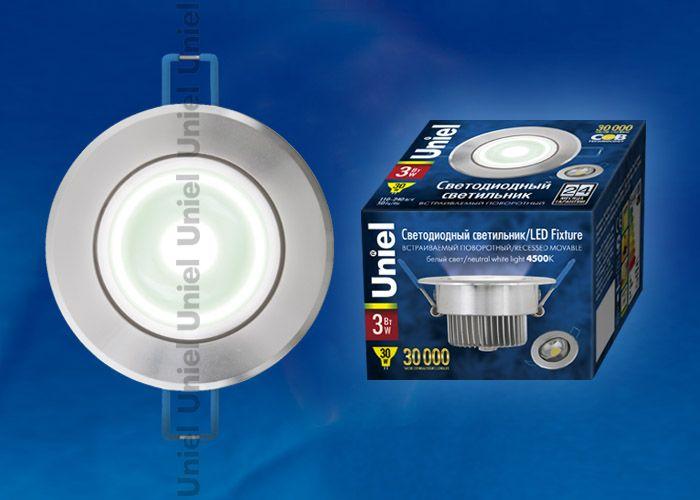 Встраиваемый светильник Uniel ULM-R31-3W/NW silver
