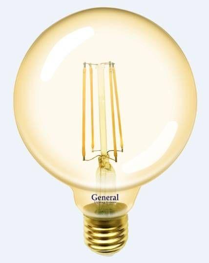 Светодиодная лампа General Шар G95S E27 8W(810lm) 2700K 2K 95x136 нитевидная, золотая. 655307